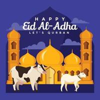 A Goat and Cow in Front of Mosque Adha vector