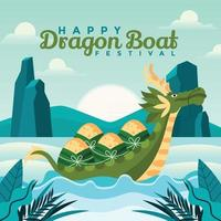 Bunch Of Dumplings On a Floating Dragon Boat vector