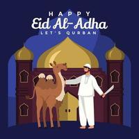 Camel Ready to be Sacrificed for Eid Adha vector