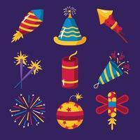 Various Kinds of Fireworks Set For Festivals vector