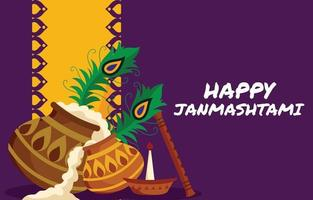 Couple of Pot Filled With Janmashtami Traditional Food vector