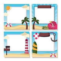 Four Set Of Refreshing Summer Themed Photo Frame vector