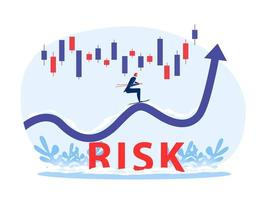 Businessman skies on arrow growing up with  stock market graph above the word Risk vector illustrator