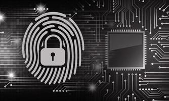 Finger print network cyber security background vector