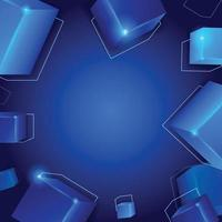 Blue Cube With Light Decoration vector