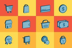 Complete set of 3d shopping  buttons Vector illustration