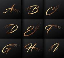 Conjunto de lujo de letras iniciales de monograma dorado vector