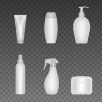 conjunto de diferentes maquetas de botellas de protector solar vector