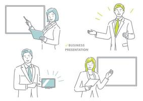 Business People Making A Presentation Vector Illustration Set Isolated On A White Background