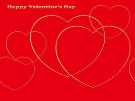 Seamless Valentines Day Vector Background With Fine Gold Heart Shapes On A Red Background