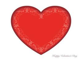 Valentines Day Vector Card Template With A Red Recessed Heart Shaped Text Space On A White Background