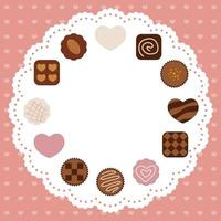 Valentines Day Vector Card Template With Various Chocolates Arranged As A Circular Frame