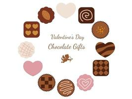 Variety Of Chocolates Arranged As A Valentines Day  Round Frame Isolated On A White Background vector