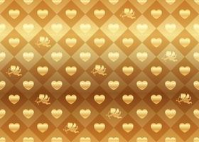 Valentines Day Horizontally And Vertically Repeatable Seamless Vector Background Illustration With Gold Heart Shapes And Cupids