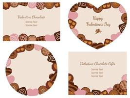 Set Of Valentines Day Vector Cards With Various Chocolates Arranged As Frames