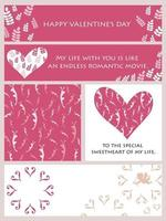 Valentines Day Vector Cards Set With Text Space Isolated On A Plain Background