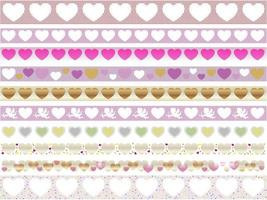 Valentines Day Easy To Use Seamless Vector Borders Set Isolated On A White Background