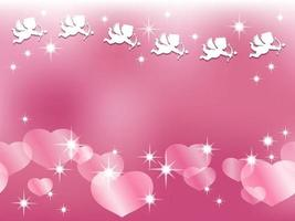 Valentines Day Seamless Vector Background Illustration With A White Cupid Flying Over Pinkish Pearl Colored Heart Shapes