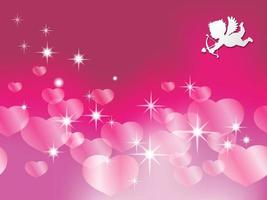 Seamless Valentines Day Vector Background Illustration With A White Cupid Taking Aim At Pinkish Pearl Colored Heart Shapes