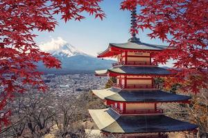 Famous Place of Japan with Chureito pagoda and Mount Fuji photo