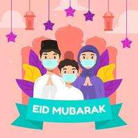 Eid Family Gathering With Protocol Illustration vector