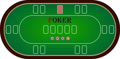 Vectorial illustration of poker table in green on white background with chips and card space vector
