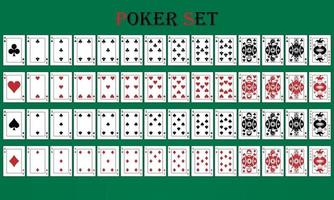 Poker set with isolated cards on green background vector
