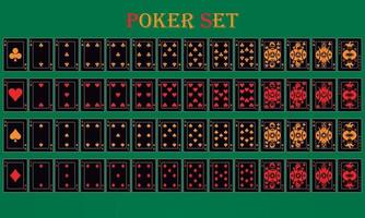 Poker game with black and yellow isolated cards on a green background vector