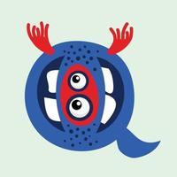 funny monster letter q alphabet vector illustration