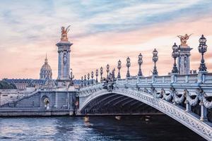 Alexandre III bridge in Paris at sunset photo