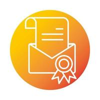 certificate email online education and development elearning gradient style icon vector