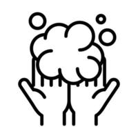 personal hand hygiene hands bubbles foam disease prevention and health care line style icon vector