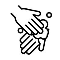personal hand hygiene hands foam disease prevention and health care line style icon vector