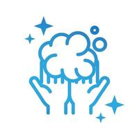 personal hand hygiene hands bubbles foam disease prevention and health care gradient style icon vector