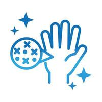 personal hand hygiene hand virus disease spread prevention and health care gradient style icon vector