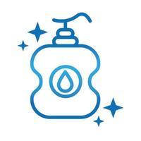 higiene personal de manos desinfectante botella prevención de enfermedades y cuidado de la salud icono de estilo degradado vector