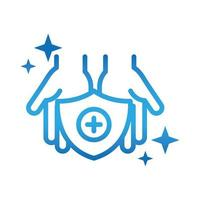personal hand hygiene hands shield disease prevention and health care gradient style icon vector