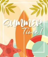hello summer banner lifebuoy surfboard starfish leaves season vacations travel concept vector