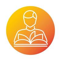 avatar reading a book online education and development elearning gradient style icon vector