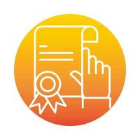 certificate click success online education and development elearning gradient style icon vector