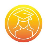 female student with graduation hat online education and development elearning gradient style icon vector
