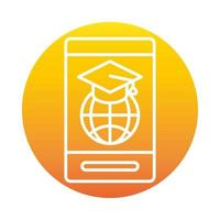 smartphone world graduation hat online education and development elearning gradient style icon vector