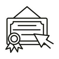 diploma clicking online education and development elearning line style icon vector