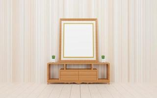 Frame mockup with cactus plant wood floor dressing table and geometric wall texture 3d rendering photo