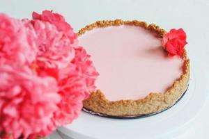Homemade strawberry cheesecake with oatmeal base photo