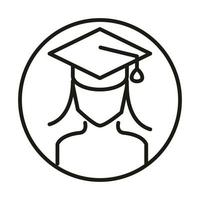 female student with graduation hat online education and development elearning line style icon vector