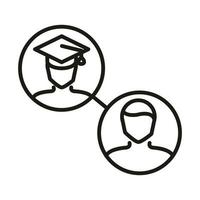 teacher and graduate student online education and development elearning line style icon vector