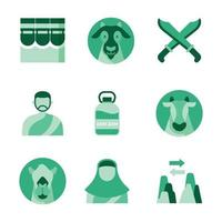 Green Tinted Livestock and Moslem People Icon vector