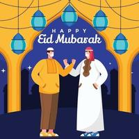 Two Religious Man Talking During Eid Wearing Mask vector