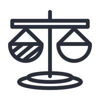Diseño de vector de icono de estilo de línea de escala de ley aislada
